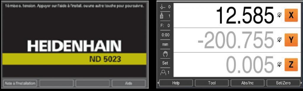 Écran d'accueil personnalisable sur visualisation de cotes heidenhain ND 5023